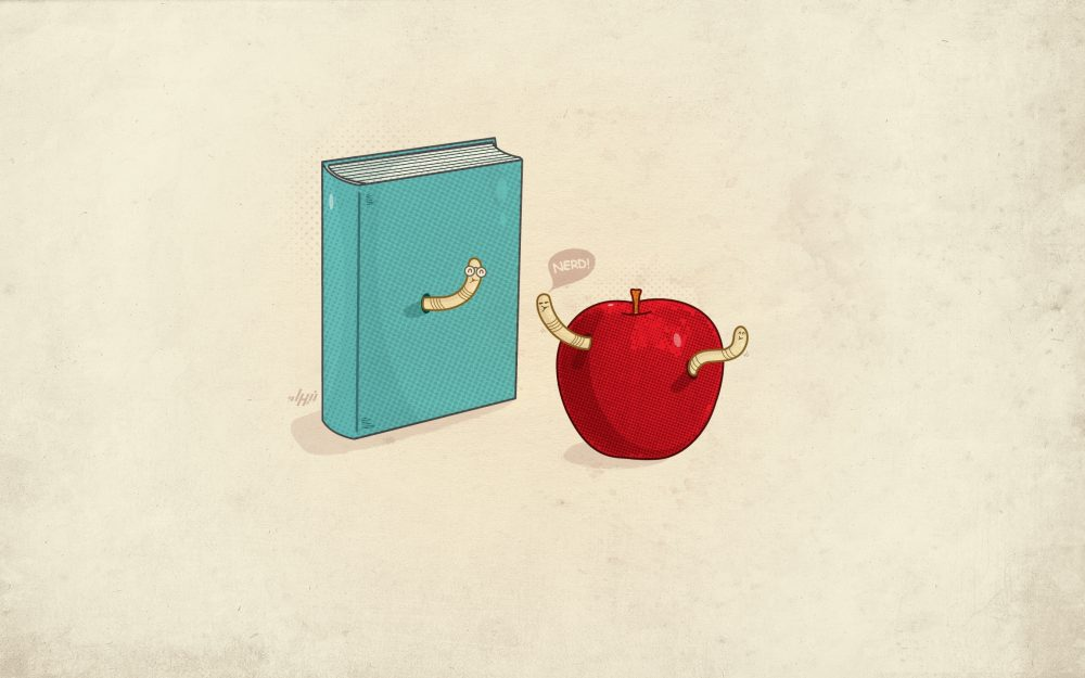 book, worms, minimalism
