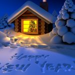 Happy New Year snowy mountain hut on the desktop wallpaper