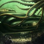 Ocean bottom, seaweed, giant, submarine, Nautilus, divers
