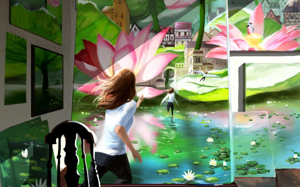 painted water lilies wallpaper