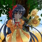sunflower, shakugan no shana, tree, girl, brunette