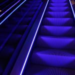 Escalator in neon colors desktop background