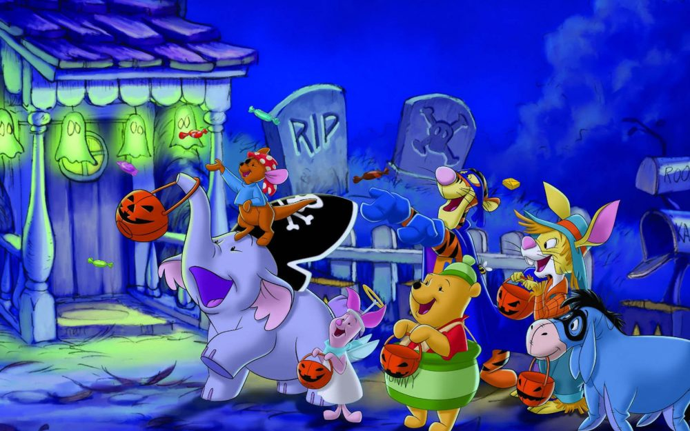 Halloween, Winnie the Pooh and friends cute desktop background picture