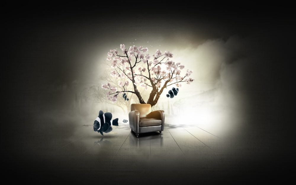 immersive-garden, tree, fish, chair, dilshan arukatti, fishes desktop wallpaper