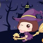 Cute little witch desktop wallpaper