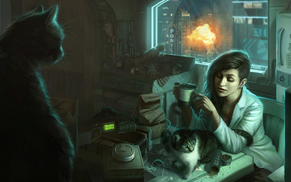 Girl with cats