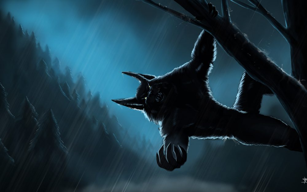 night, forest, rain, werevolf, # night, rain, werewolf, forest