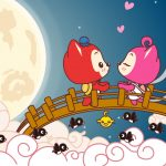 Romantic Valentines Day A raccoon cartoon wallpaper