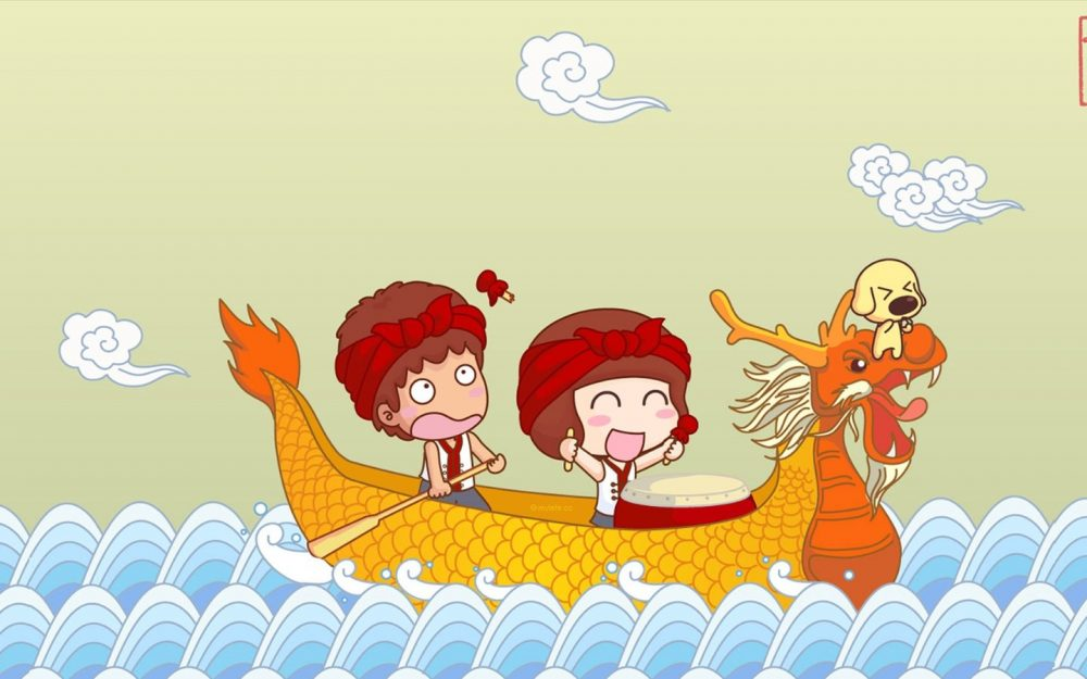 Dragon boat racing Dragon Boat Festival 2014 HD Cartoon Wallpapers