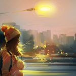 Girl, wind, flashlights, hats, art wallpaper