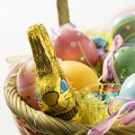 Easter bunny in a basket wallpaper