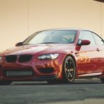 stained, Red, Bmw, front view, M3