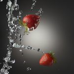 Splashing, strawberry, water, macro