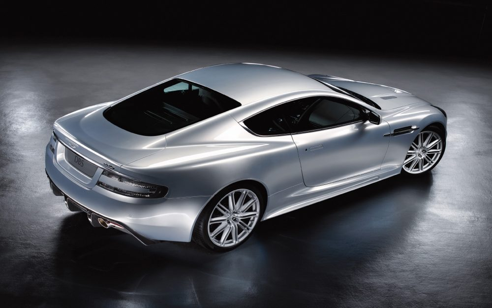 Aston martin, top view, dbs, metallic silver, style desktop background