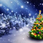 Forest, Christmas Tree, New Year, winter snow, Christmas balloons, garlands, Christmas desktop wallpaper