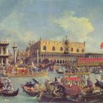 Guests of the boat, people, venice, Venice, the Doge's Palace, Antonio Canaletto