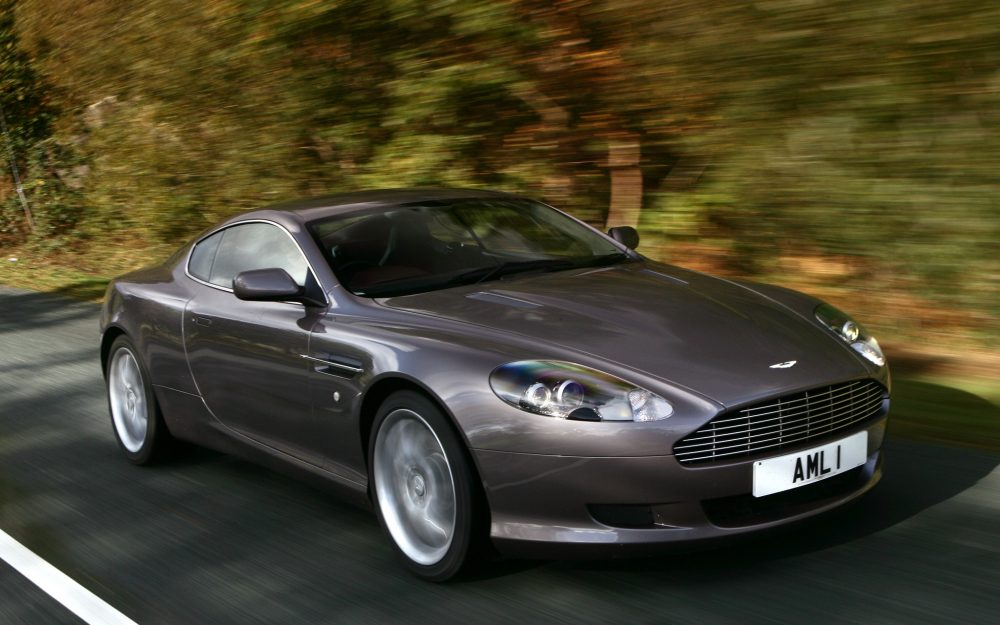 db9, aston martin, trees, speed, style, gray side view, cars wallpaper
