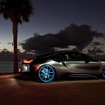 BMW i8, and at night, the beach Night, car, BMW wallpaper