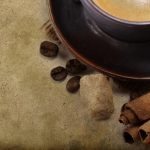Cinnamon, beans, saucer, sugar, coffee, cup, background