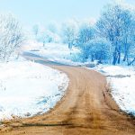 Winter road snow scenery HD Wallpaper