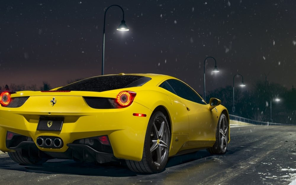 After Ferrari, 458, yellow, supercar, snow, road, street, Ferrari wallpaper