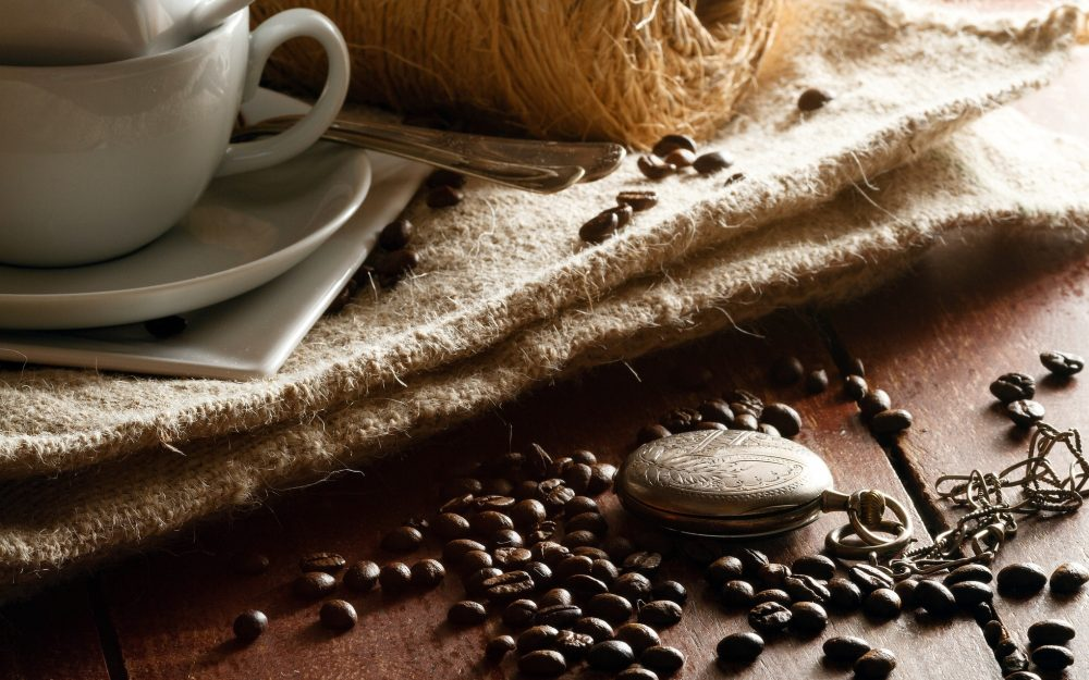 cups, table, grains, spoon, coffee