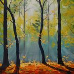 Forest, the sun's rays, artsaus, trees, nature, art