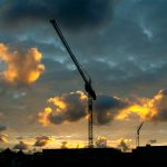 Clouds, cranes, sky, building, city, house, lifting