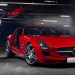 Mercedes, Mercedes-Benz, SLS, AMG, red, girl, beautiful, super sports car, door, car, Mercedes-Benz wallpaper