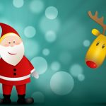 Santa Claus, Christmas trees,, deer, Christmas 2016 Desktop Wallpaper