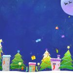 Christmas cute cottages, Christmas tree, moon, stars, desktop wallpaper