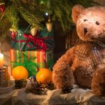Orange, linen, fruit, candles, Christmas trees, gifts, teddy bears, spruce, branches, wallpaper