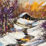 Paint, trees, winter, snow, house, fence