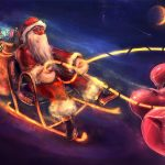 santa claus, christmas, night, pigs, gifts, sleds desktop background