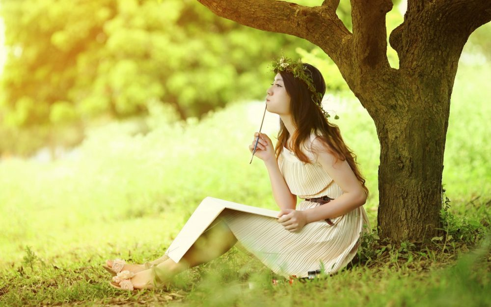 Natural, lovely girl, tree, writing, wallpaper