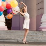 Blonde, beautiful, colorful balloons, wallpaper