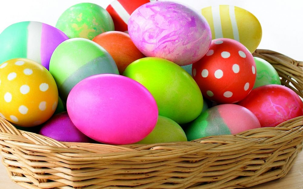 bright, colored, colorful, easter, holiday, mountain, eggs