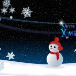snowman, snowflakes, night, christmas, christmas tree, moon wallpaper
