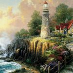 Painting seaside villa landscape wallpaper