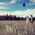 Air, field, couple, grass, date, balloon ride