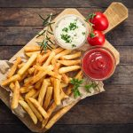 Rosemary, french fries, sauce tomatoes, Portion