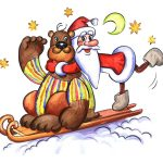 santa claus, sleigh, bear, greeting card, moon, stars