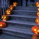 halloween, holiday, stairs, pumpkin hd wallpaper
