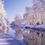 Winter nice river Snow HD Wallpaper