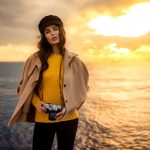 krasotka, sea, beret, stands, camera, sky, sunset, Negin, Figura, horizon, jacket, pose, look, cap, model), Kaan ALTINDAL