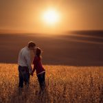 Lover, kissing, man, woman, sunset landscape, mood wallpaper