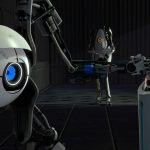 Button, portal 2, a robot presses