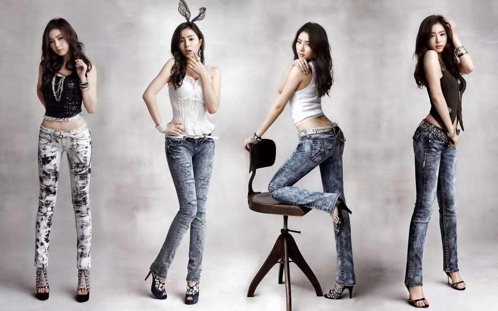 Korean girls denim photo wallpaper