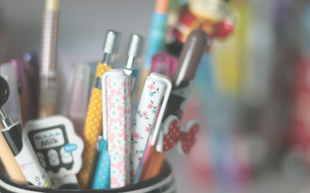 Colorful, pencils, pens, stand desktop background