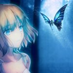 Beautiful blue butterfly girl wallpaper